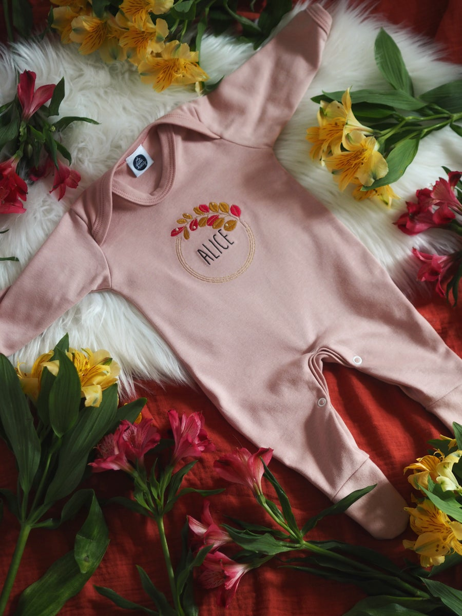 Image of Autumn Dew - dusty pink sleep suit