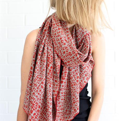 Image of Weave Print Silk Scarf