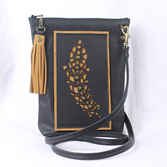 Image of Leather Dance Bag - Feather Black & Tan