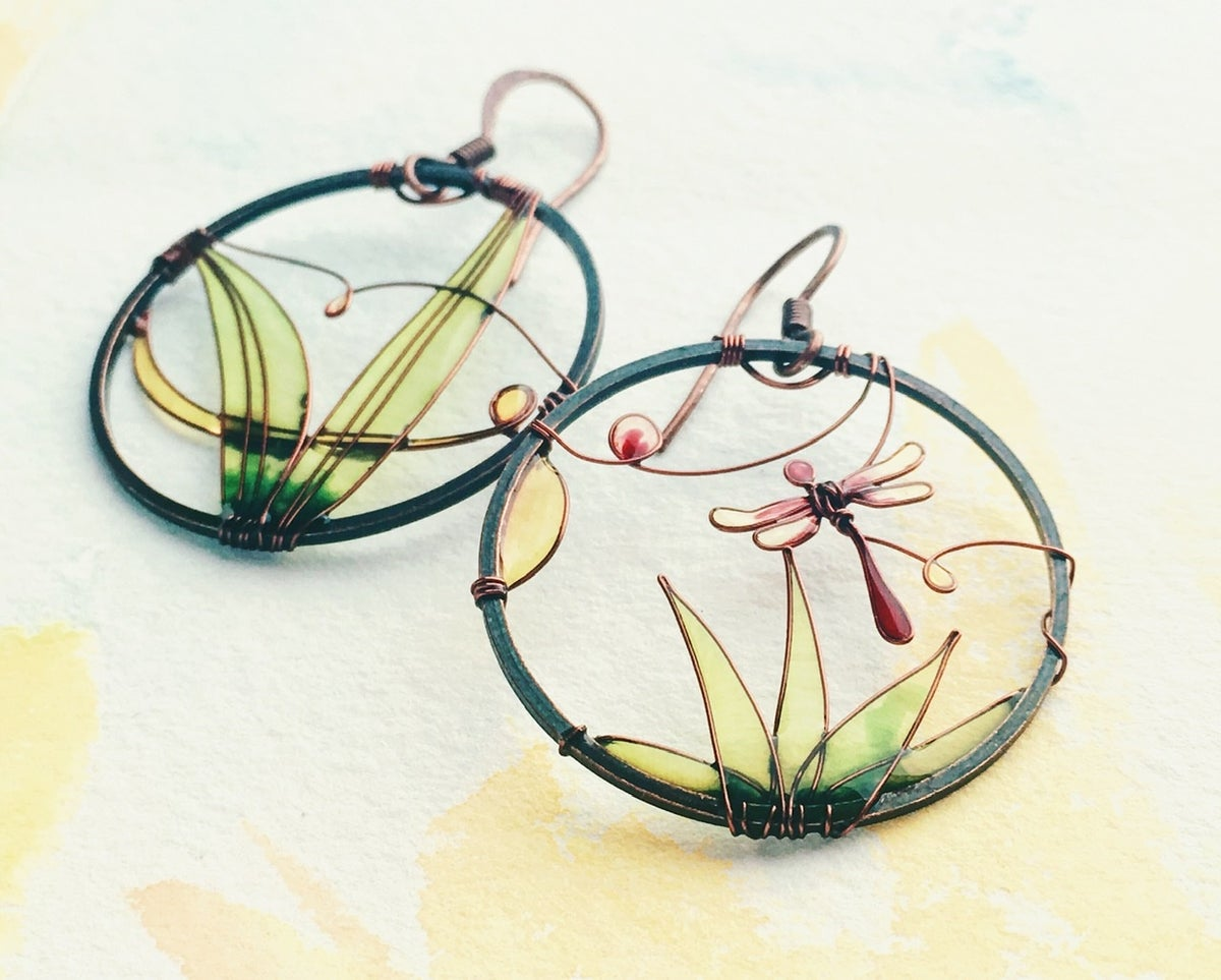 Image of Purple Dragonfly Earrings