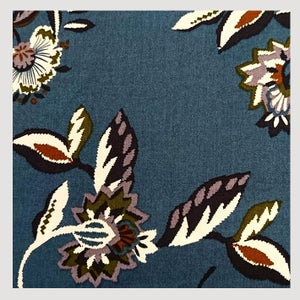 Image of tissu: Floral wallpaper blue oil