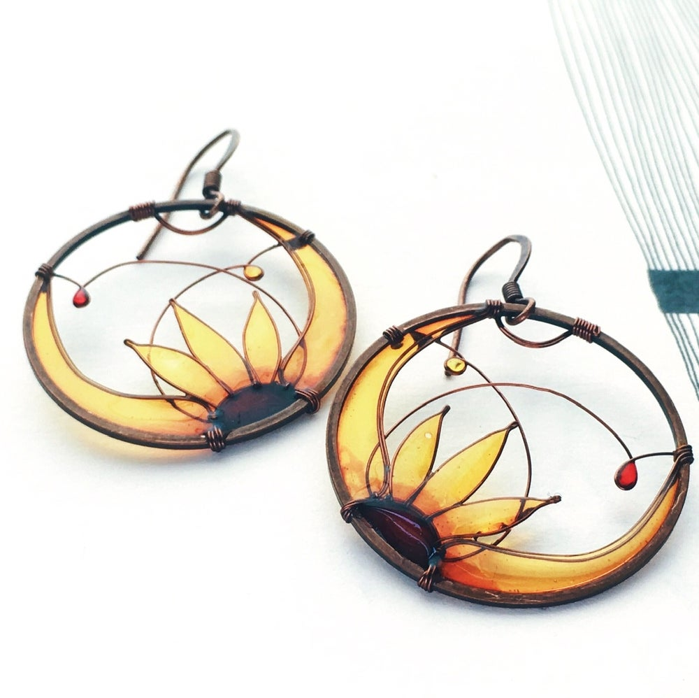 Image of Copper Sunflower Earrings