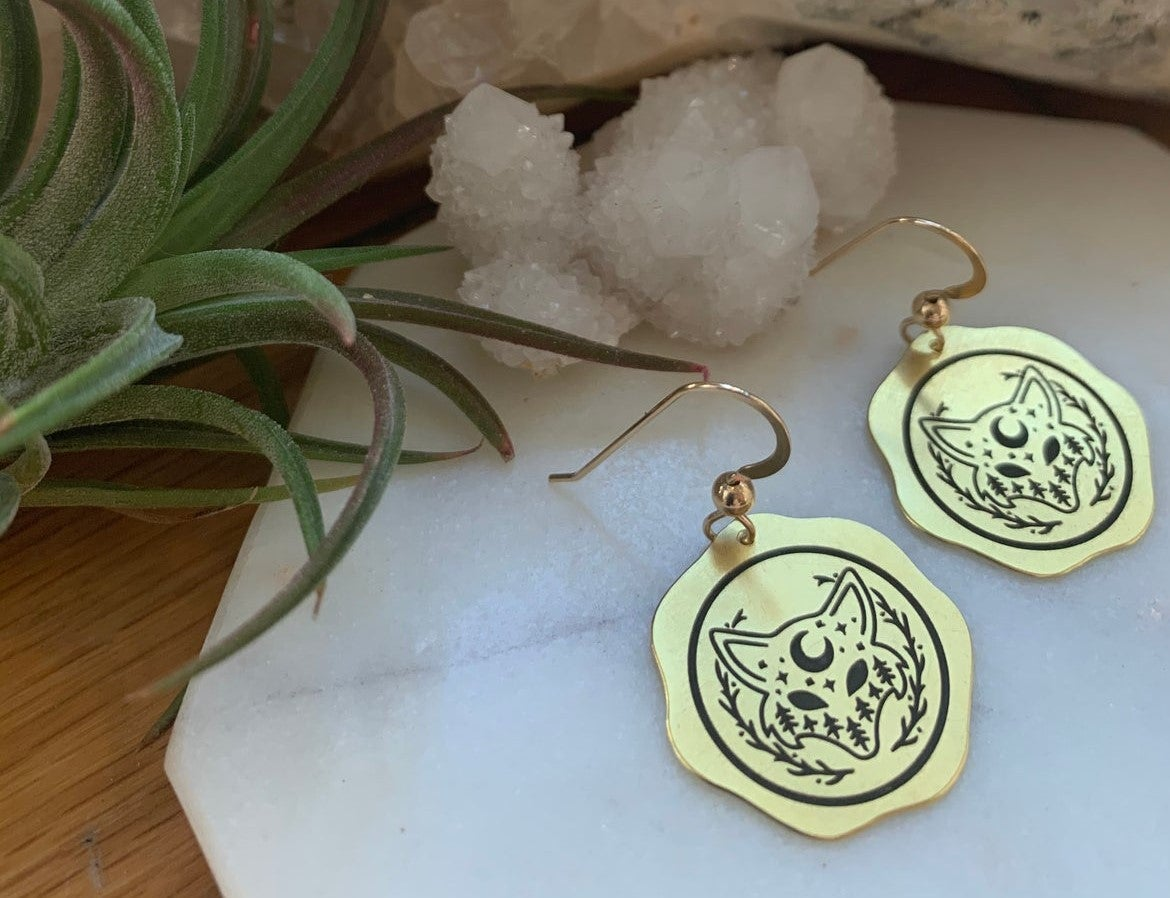 Image of Moon and wolf earrings