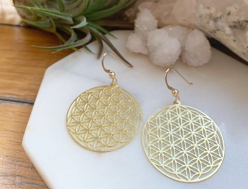 Image of Gold flower of life earrings