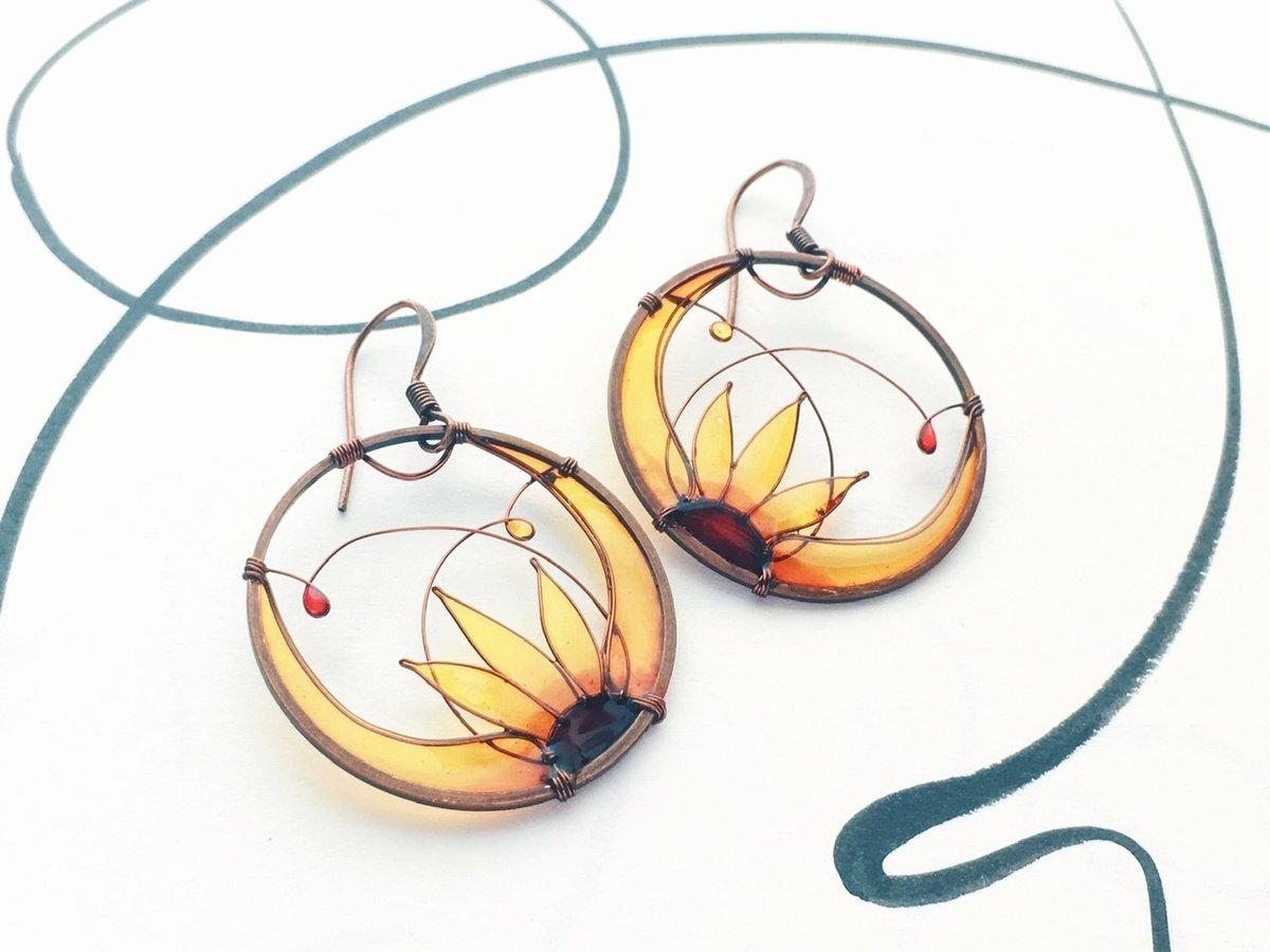 Image of Copper Sunflower Earrings