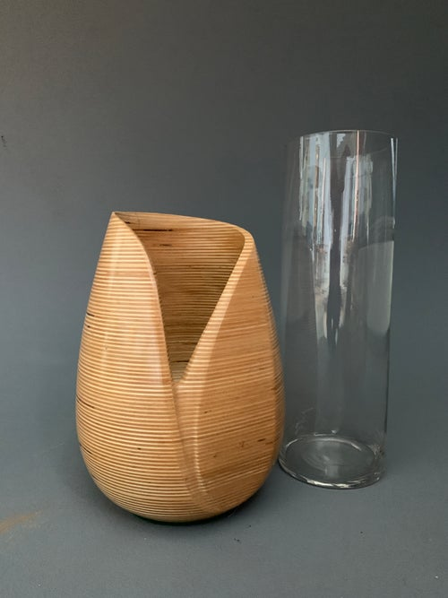 Image of Handcrafted Handmade Turned Wood Sculpted Vase With Glass Insert.  The Tulip