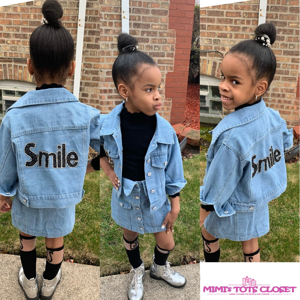 Image of Girls Denim Skirt Set