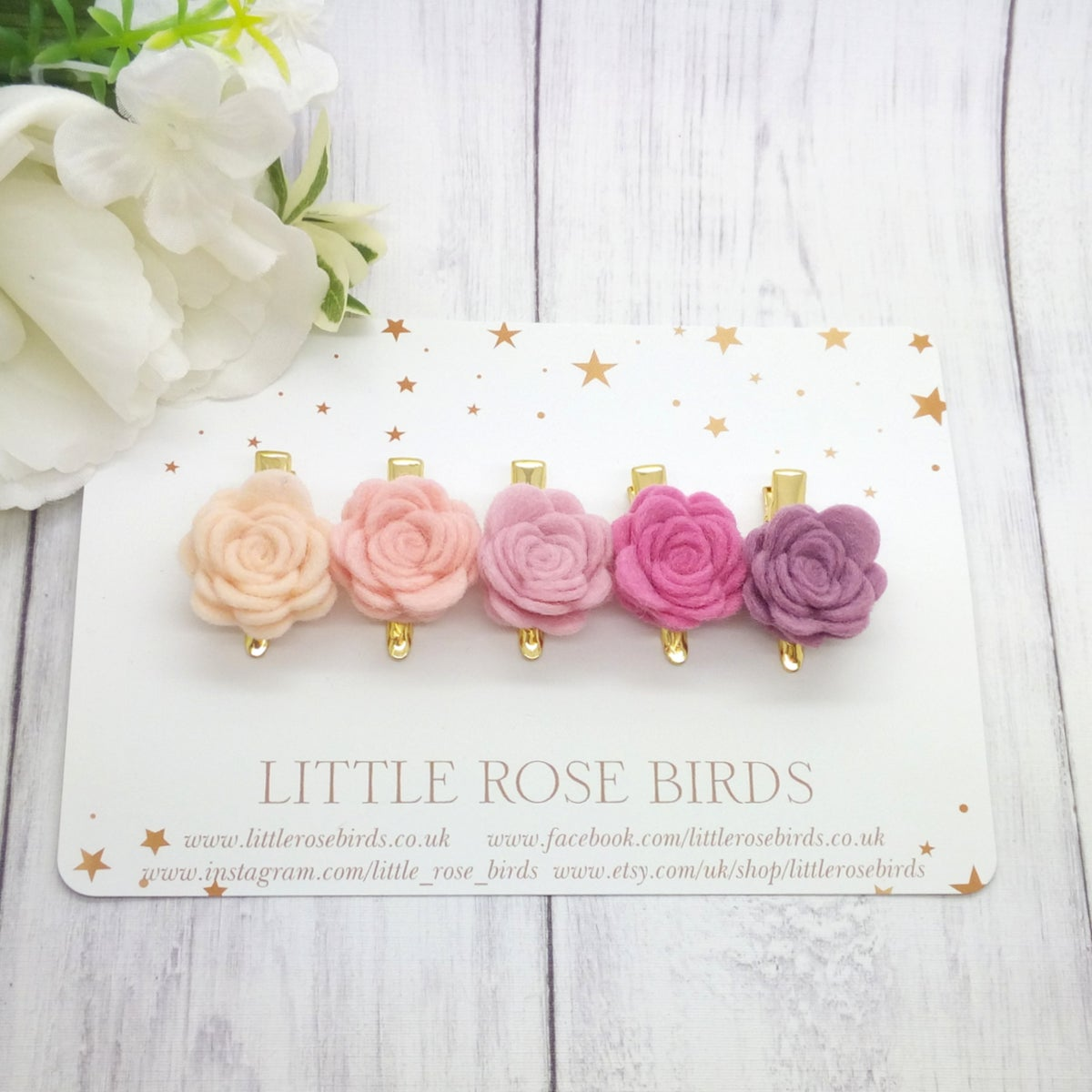 Image of SET OF 5 - Pink Mini Rose Clip Set