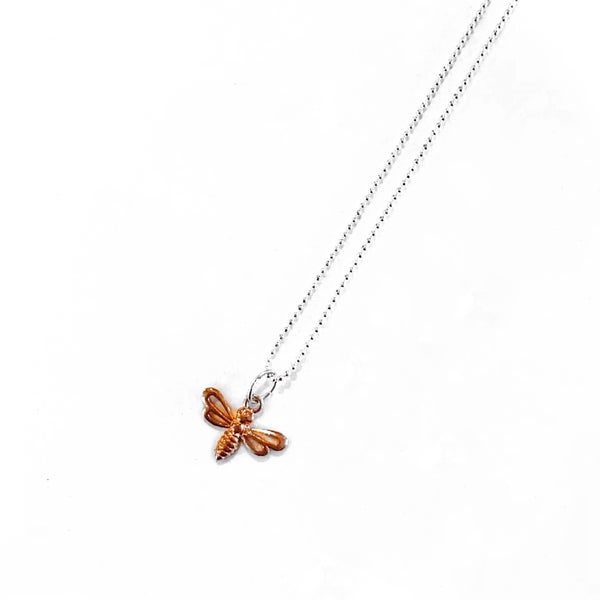Image of Sterling Silver & Rose Gold Bee Charm Necklace