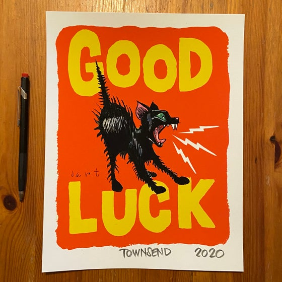 Image of FREE SHIPPING- GOOD LUCK KITTEN- RED- 8.5x11 GICLEE PRINT