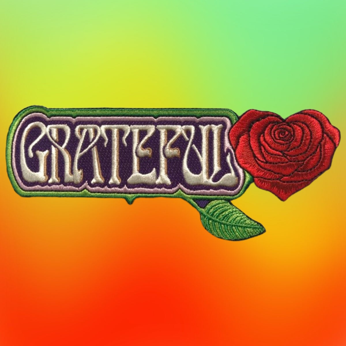 "Grateful Large Embroidered Patch!! 2.5""x6"""