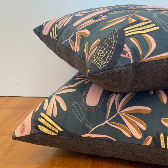 Image of Cushion - Charcoal Banksia