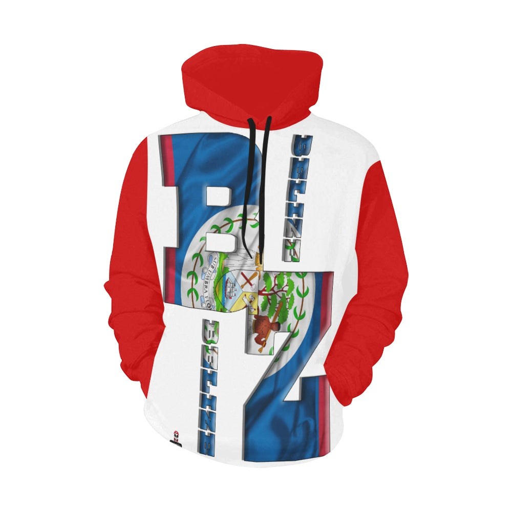 Image of BZ ALL OVER PRINT HOODIE RED SLEEVES/HOOD All Over Print Hoodie for Men (USA Size)