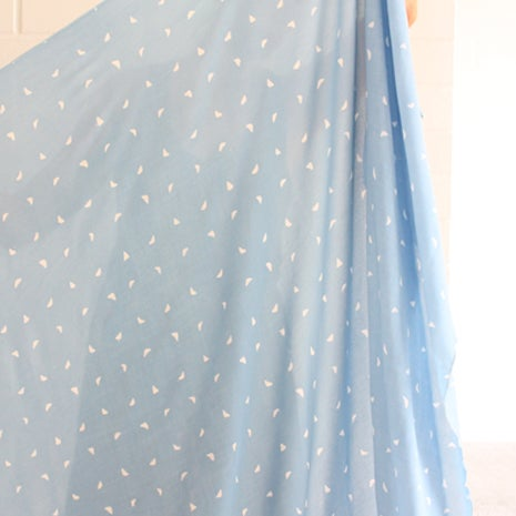 Image of Wax Print Viscose Georgette Sky/White