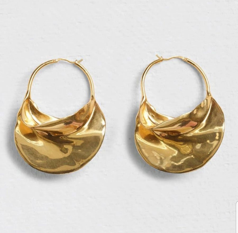 Image of GOLD IRREGULAR SHAPED HOOP - EARRINGS