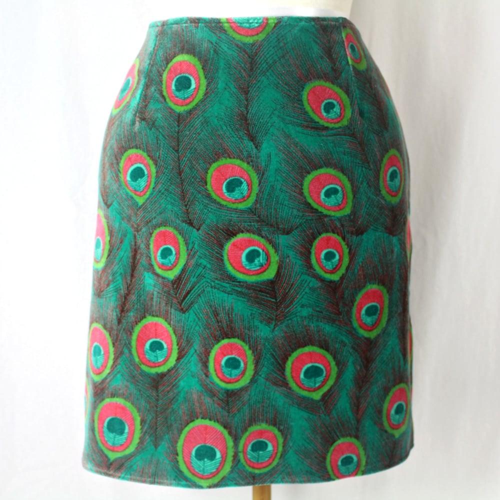 Image of Velvet Skirt - Peacock Green