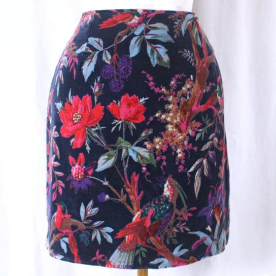 Image of Velvet Skirt - Birds Navy