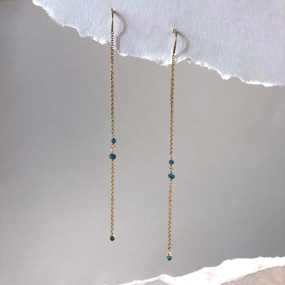 Image of Blue Diamond Threader Earrings
