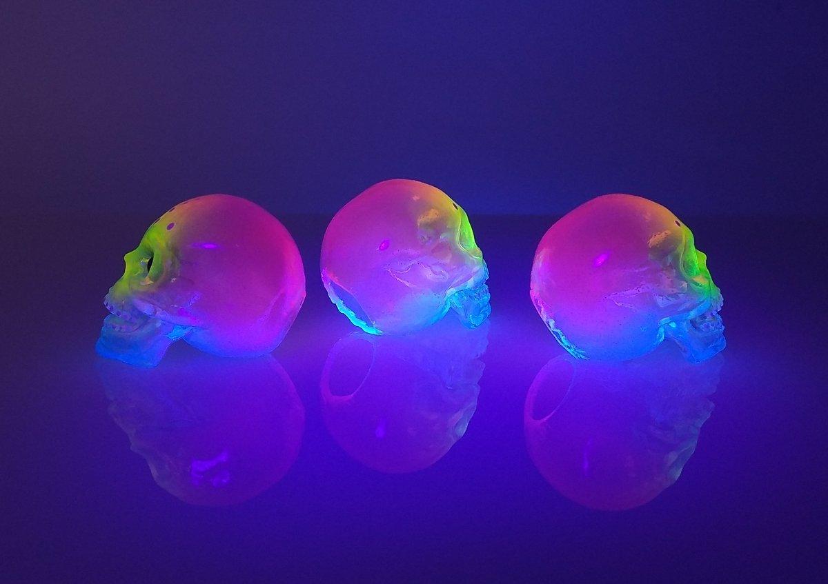 Image of Custom Neon Mini Sofubi Skull