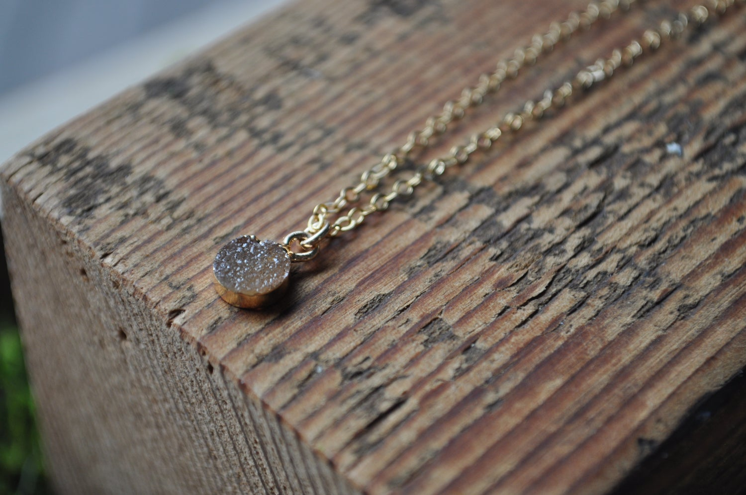 Image of Tiny Druzy Necklace - In Rust Orange on Gold Fill