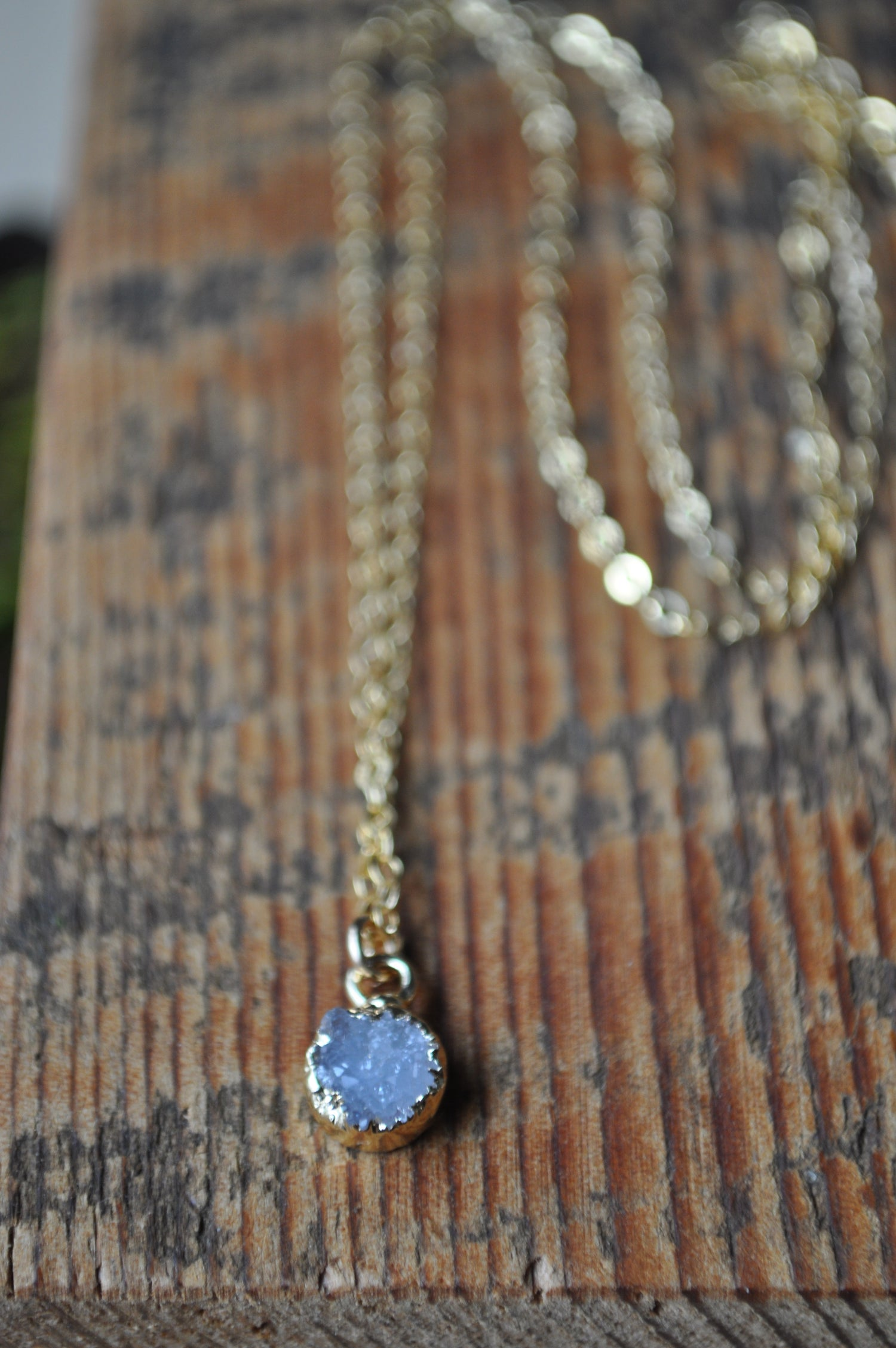 Image of Tiny Druzy Necklace - In Lilac Druzy on Gold fill