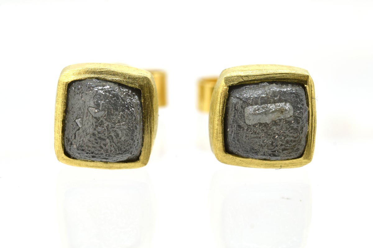 Diamond cube studs in 18ct Yellow gold