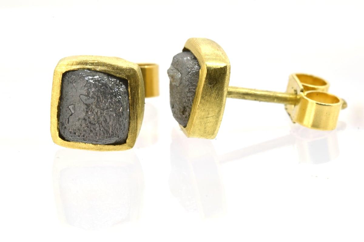Diamond cube studs in 18ct Yellow gold