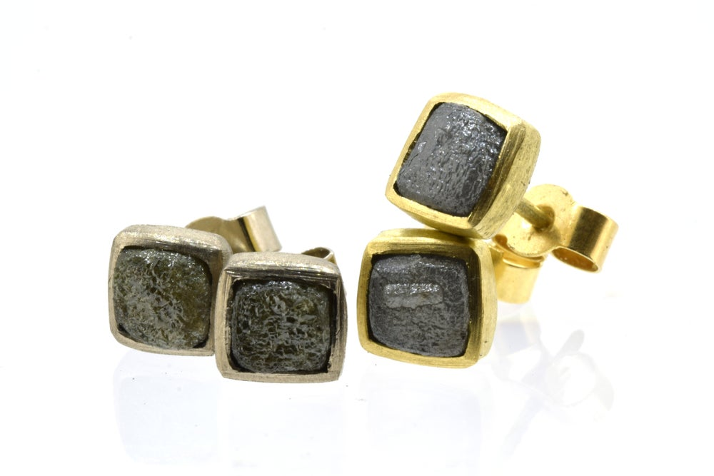 Image of Diamond cube studs in 18ct Yellow gold