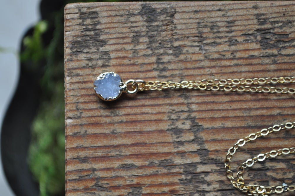 Tiny Druzy Necklace - In Lilac Druzy on Gold fill