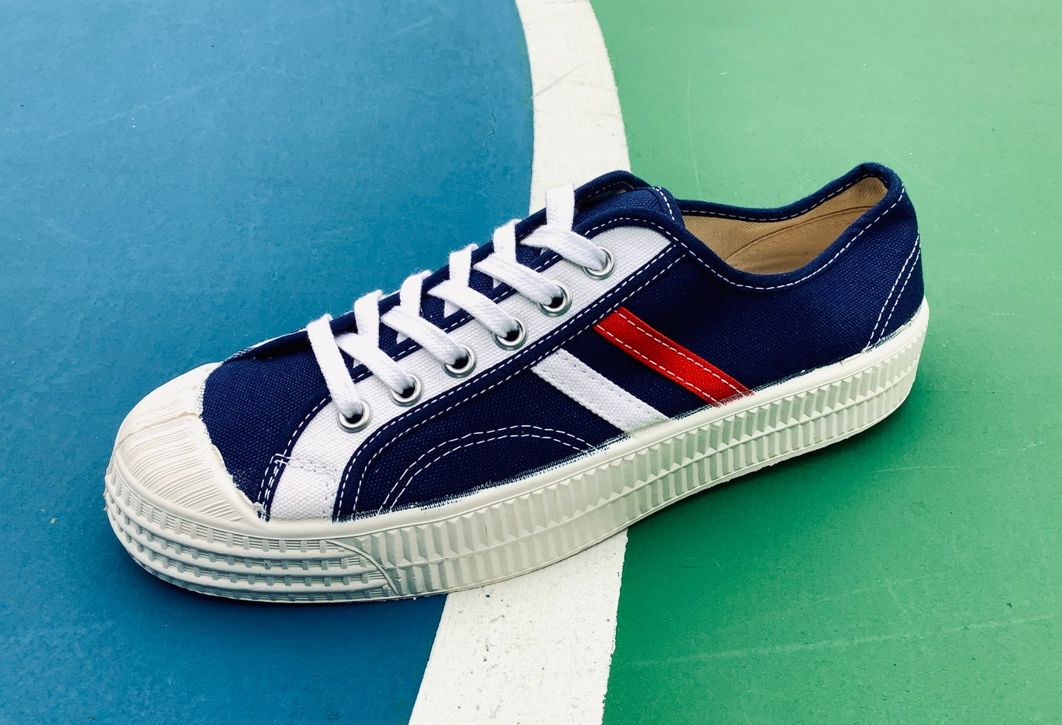 Image of VEGANCRAFT vintage lo top red white stripes navy sneaker shoes made in Slovakia