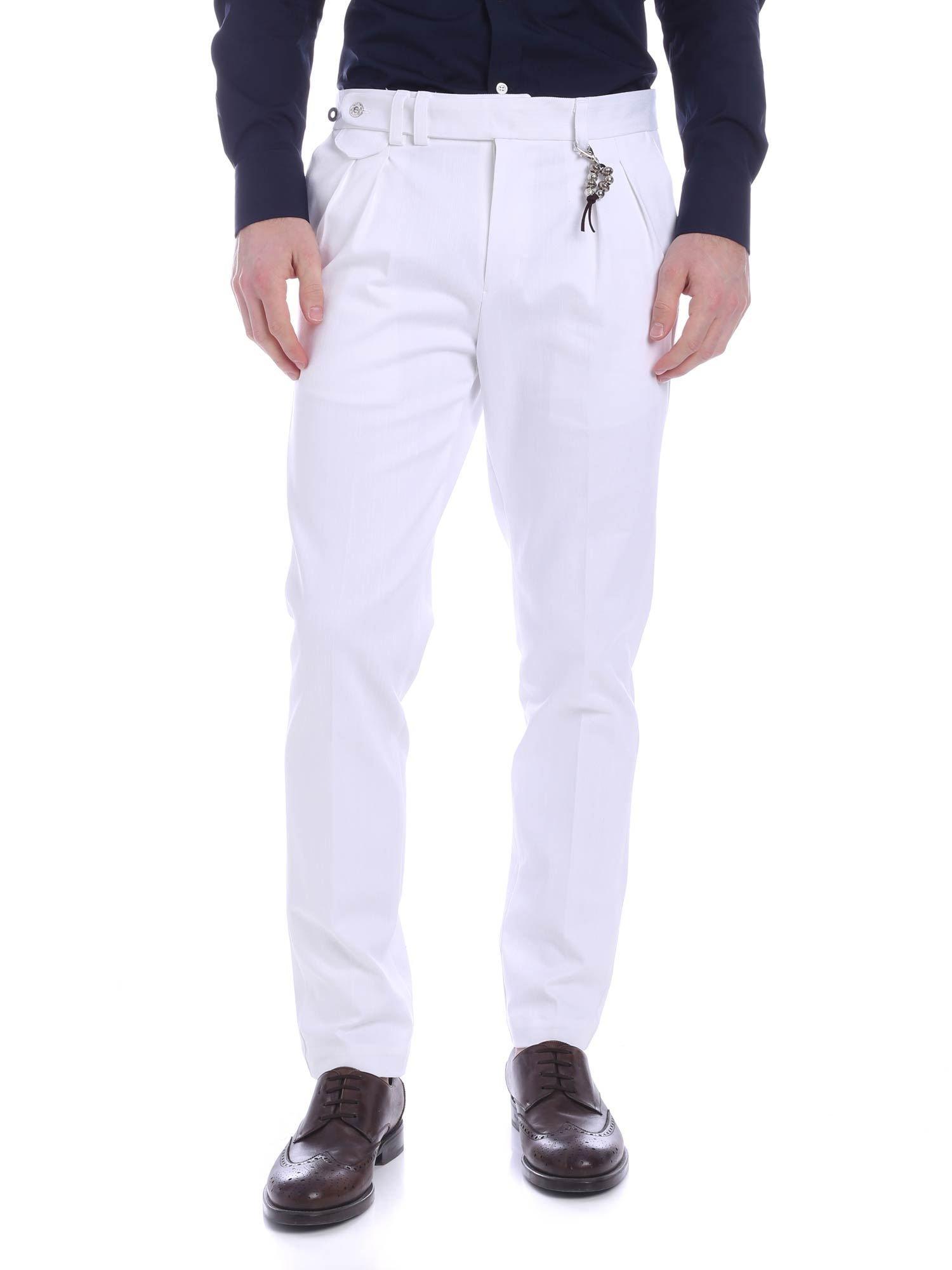 Image of Pantalone doppia pences denim bianco R96 D-B