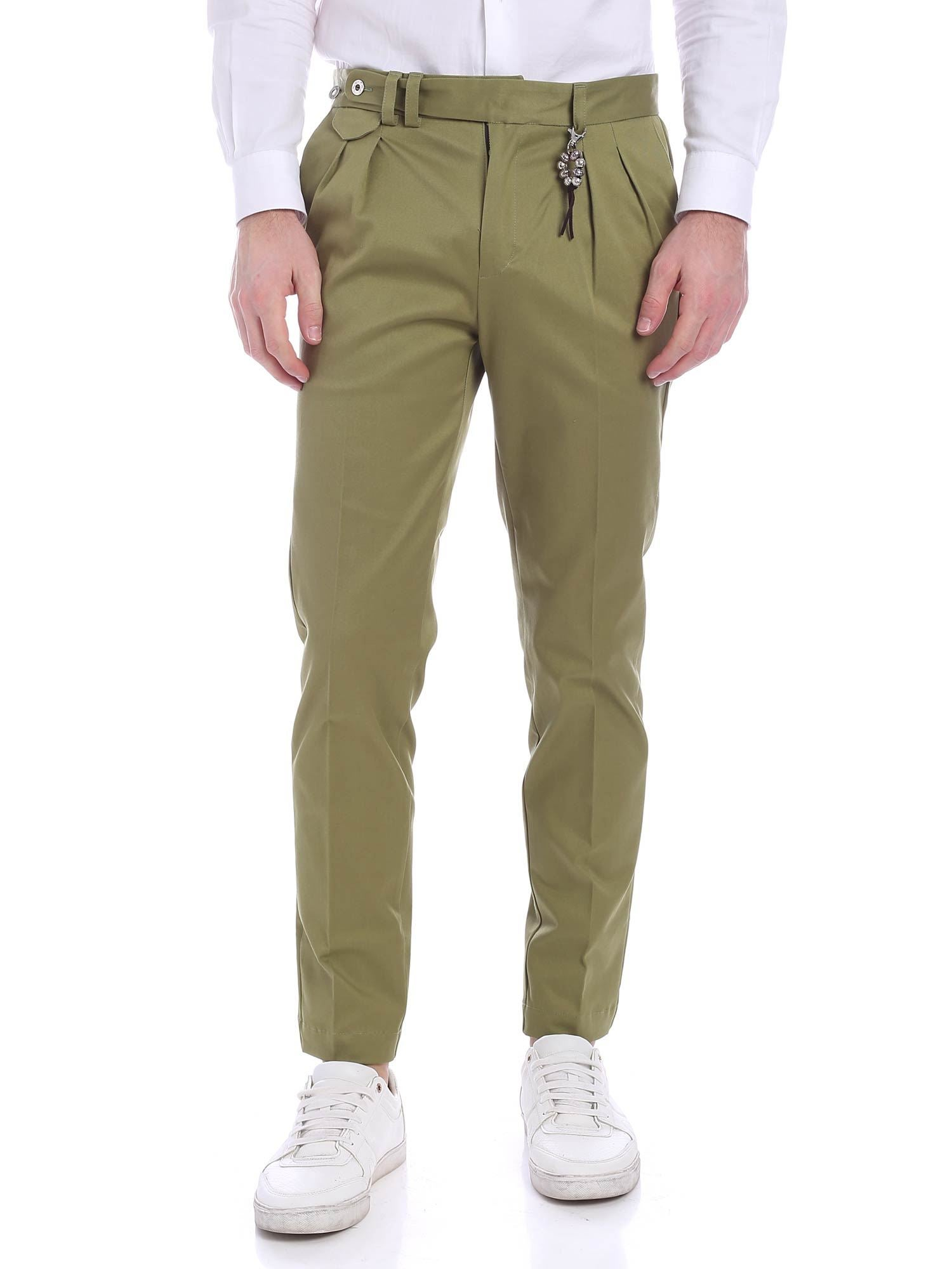 Image of Pantalone doppia pences verde R96 C-V