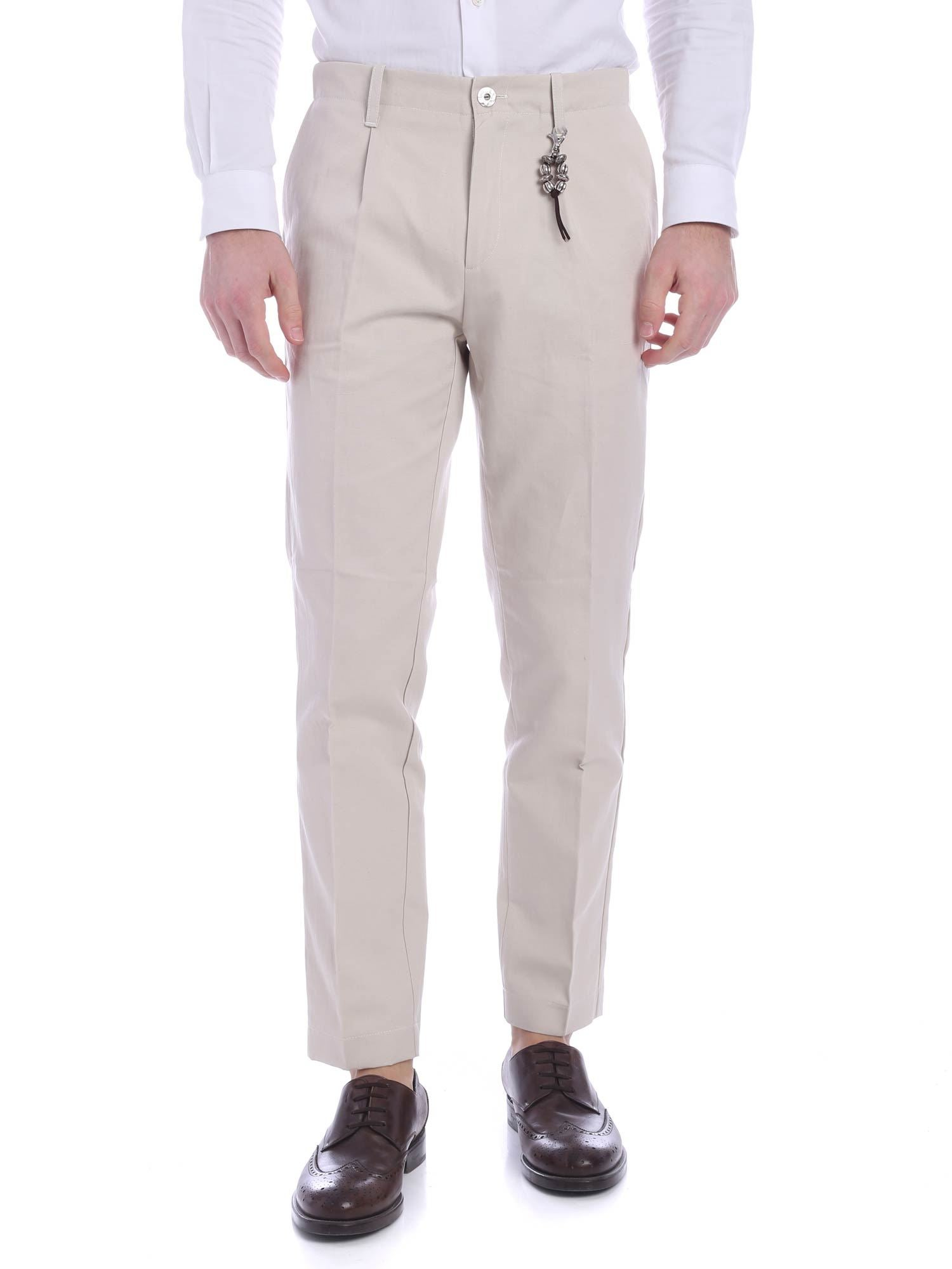 Image of Pantalone una pence lino beige R92 L-BE
