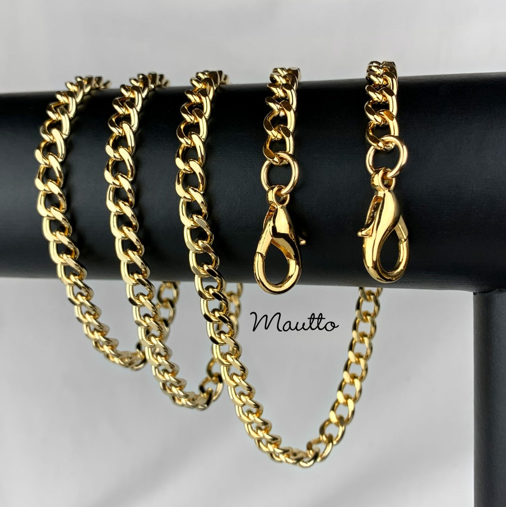 "Image of GOLD Chain Purse Strap - Mini Classy Curb, Diamond Cut Accents - 1/4"" Wide - Choose Length & Clasps"