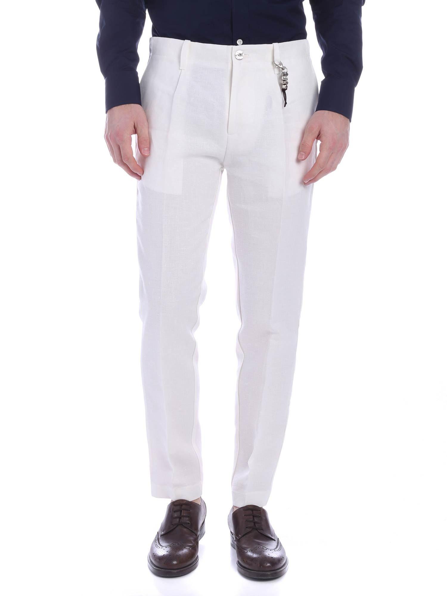 Image of Pantalone una pence lino bianco R92 L-B