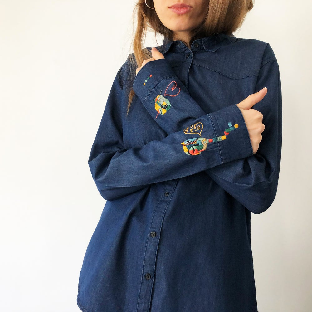 Image of Uncomplicated lovers - hand embroidered 100% organic cotton shirt, one of a kind