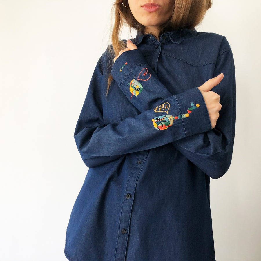 Image of Uncomplicated love - hand embroidered 100% organic cotton shirt, one of a kind