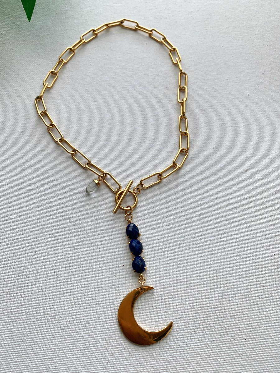 Image of BLUE MOON • Lapis Lazuli Moon Necklace