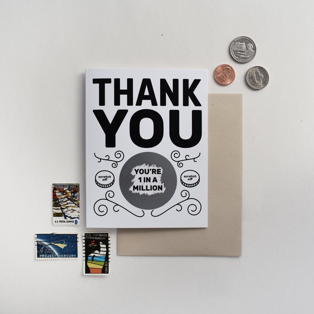 Image of One in a Million Thank You Scratch Card