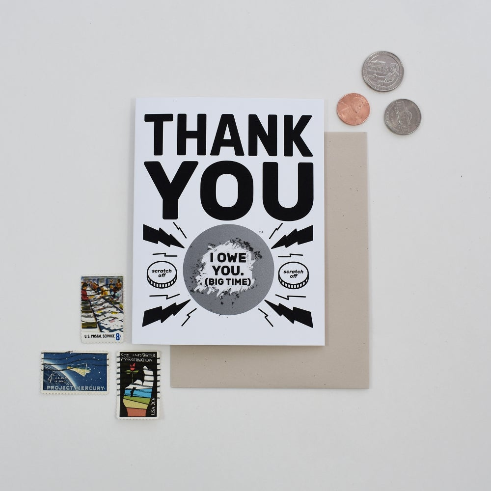 Image of I Owe You Thank You Scratch Card