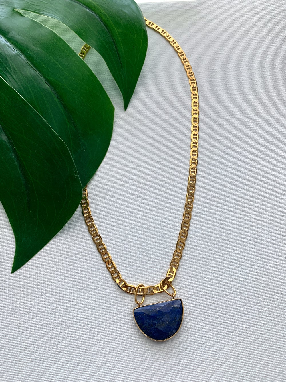 Image of MARI • Lapis Lazuli Shield Necklace