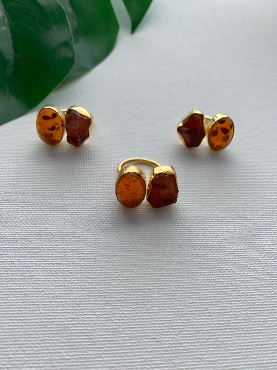 Image of SUNNY • Amber & Carnelian Ring