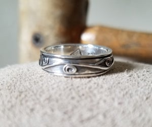 Spinner Ring Straight Sided with Spirals