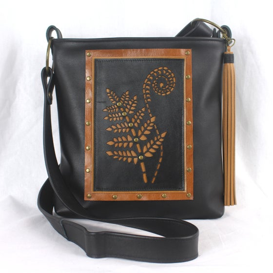 Image of Leather Hip Bag - Fern & Frond Black & Tan