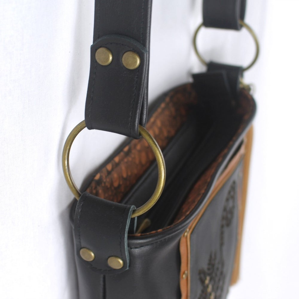 Image of Leather Hip Bag - Fern & Frond Black & Tan