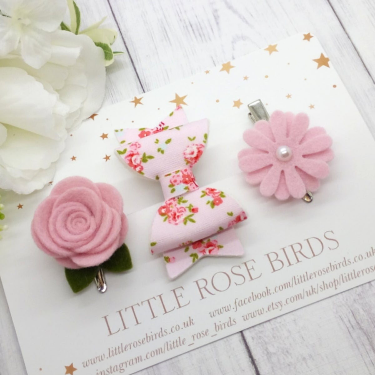 Image of Pink Floral Bow Set