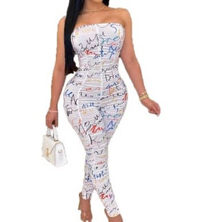 "Image of ""Autographed"" Strapless Jumpsuit"