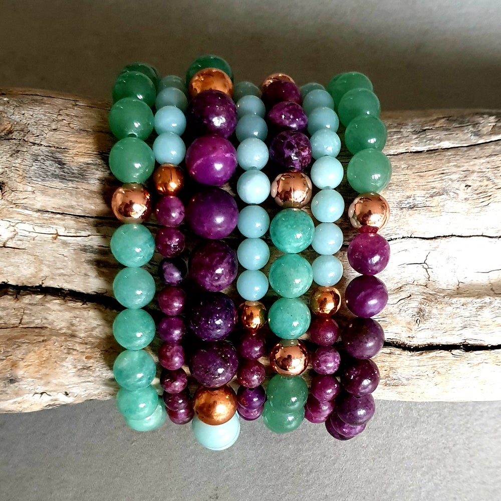 Image of STRESS & ANXIETY BRACELET - Lepidolite - Amazonite - Aventurine - Copper