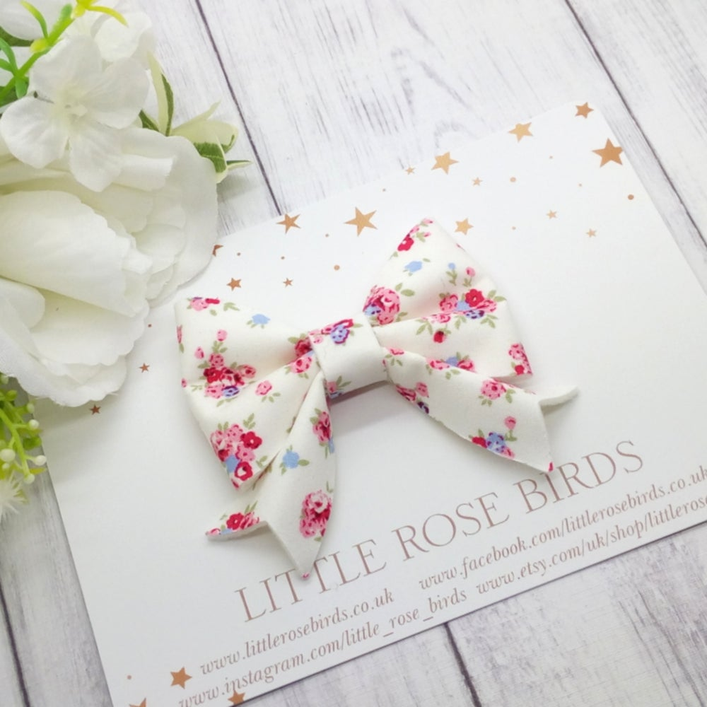 Image of White Fabric Floral Bow