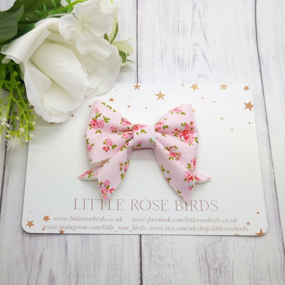 Image of Pink Fabric Floral Bow